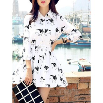 dress rose wholesale white white dress printed sweater