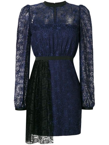 dress pleated women blue