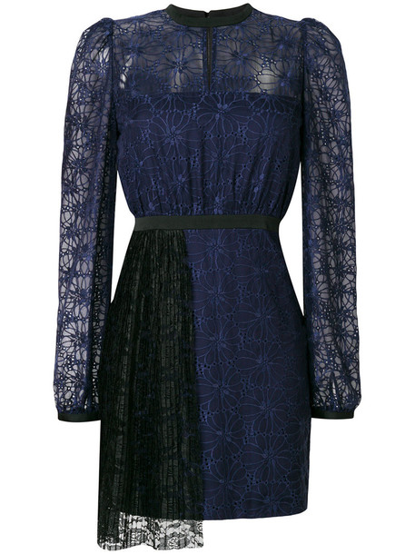 Three Floor dress pleated women blue