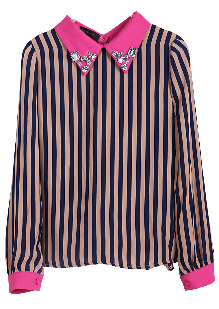 Navy Vertical Stripe Rhinestone Back Buttons Blouse - Sheinside.com