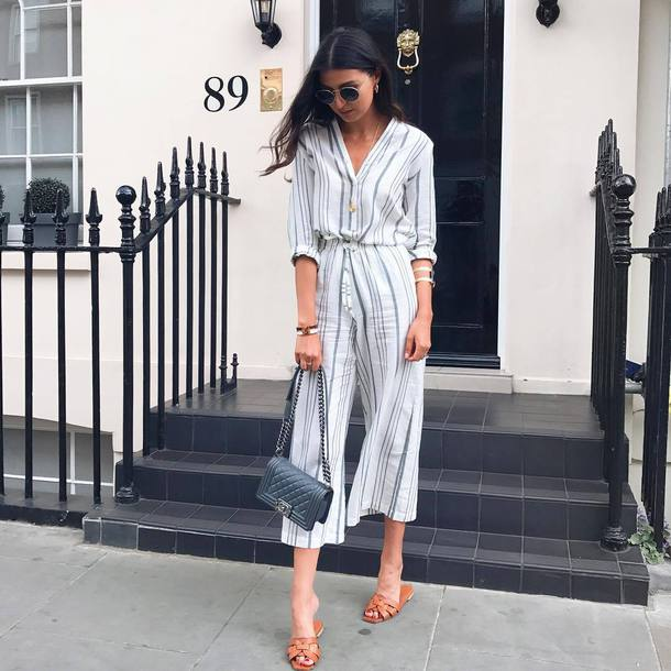 shirt tumblr stripes striped shirt pants striped pants culottes shoes sandals flat sandals slide shoes work outfits office outfits
