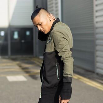 jacket maniere de voir neoprene khaki black bomber jacket