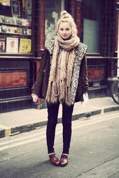 coat,brown coat,brown,scarf,white scarf,brown scarf,beige,beige scarf,jeans,black,vintage,black bottom,black jeans,tight black jeans,shoes,cozy,jacket,warm,black trousers,blonde hair,bun