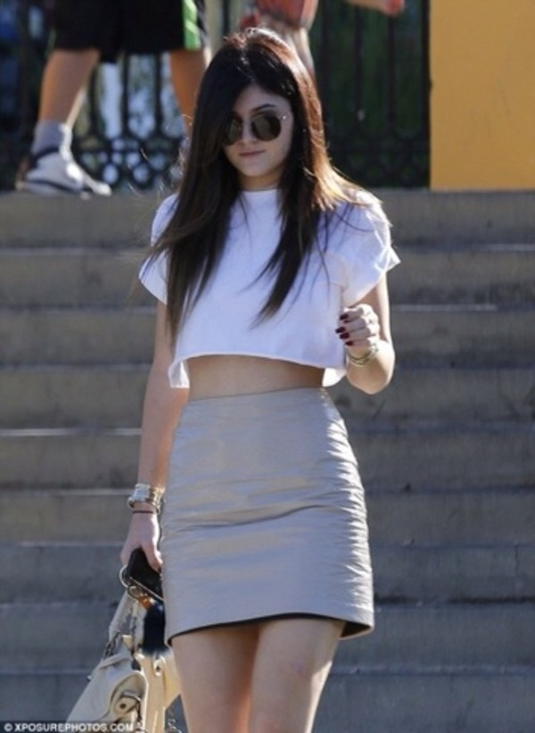 skirt kylie jenner leather crop tops white
