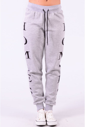 Ladies Henson Homies Print Joggers  In Grey at Pop Couture UK