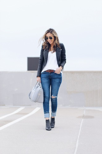 lilly style blogger jacket t-shirt jeans shoes bag belt sunglasses jewels