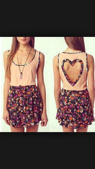 hearts floral dress cute dress