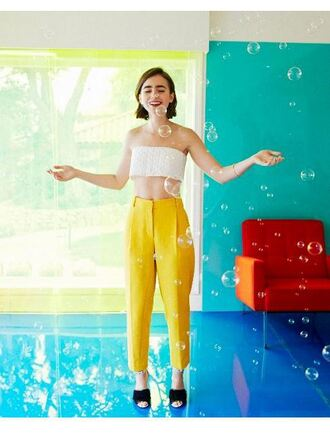 pants yellow lily collins crop tops