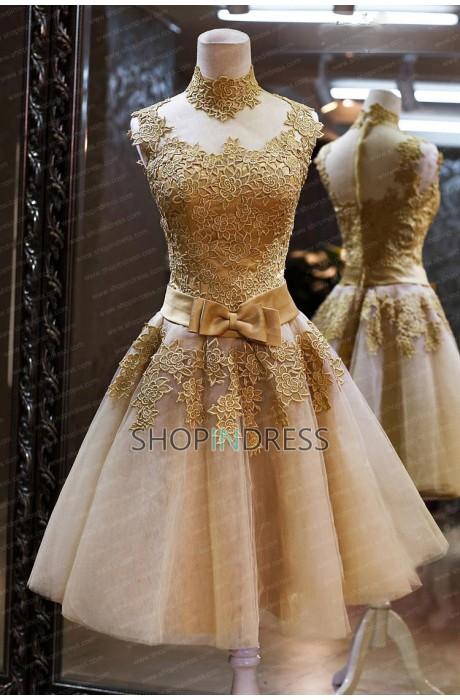 2014 Vintage  A-Line High-Neck Lace Short Cocktail Dress NPD1476 Sale at Shopindress.com