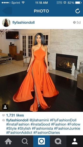 dress long orange ballgown