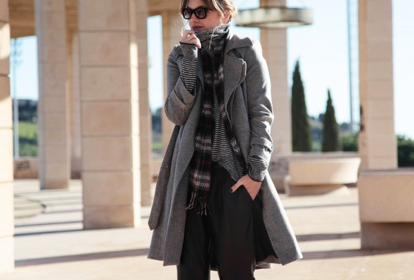 my daily style coat pants sweater scarf bag sunglasses