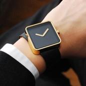 jewels,classy,gold,black,watch,minimalist,minimalist jewelry,black watch