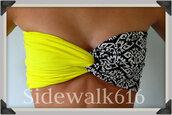 swimwear,yellow bikini,bandeau,bandeau bikini,yellow,tribal pattern,bikini,black bikini,spandexbandeau,spandex bandeau