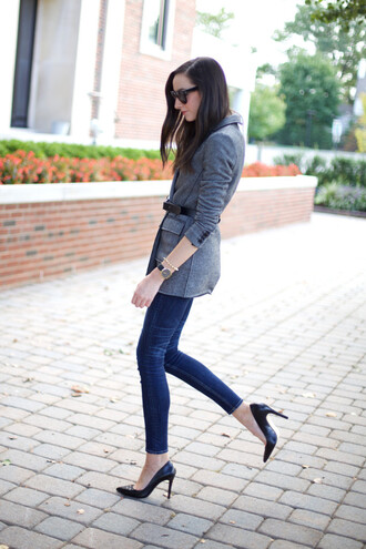 the glam files blogger sunglasses jacket top belt jewels jeans shoes