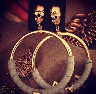 jewels earrings skull hoop earrings