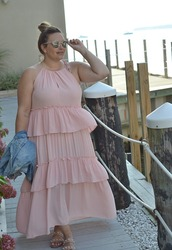 mommyinheels,blogger,dress,jacket,shoes,sunglasses,plus size,plus size dress,maxi dress,pink dress