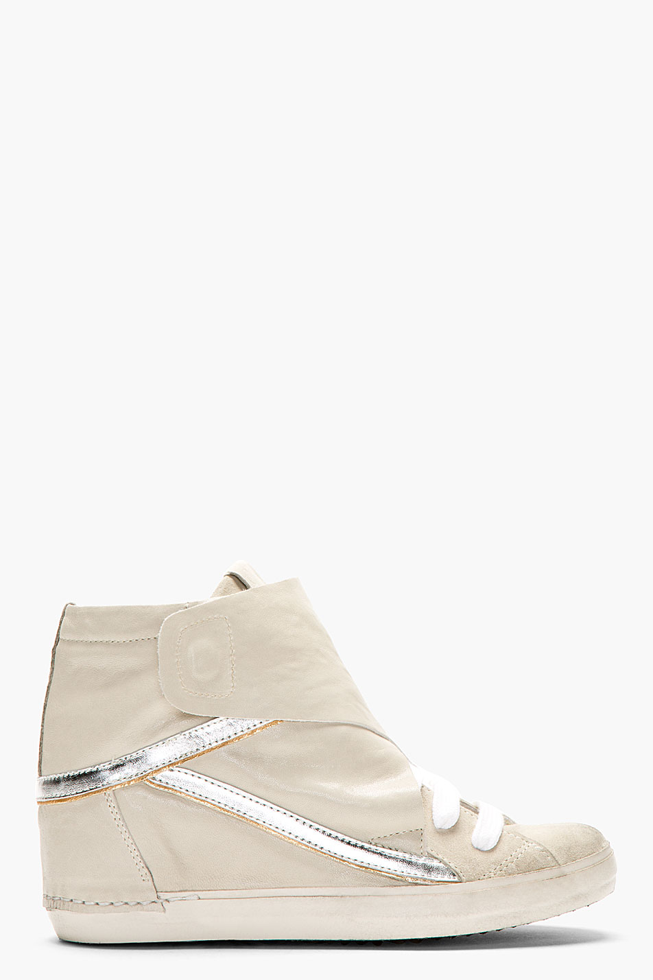 Ca by cinzia araia grey leather new rabbit wedge sneakers