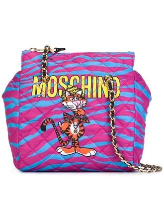 metal women tiger bag shoulder bag leather purple pink