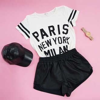 shirt shorts hat leather pleather elastic t-shirt jersey leather cap leather shorts black and white