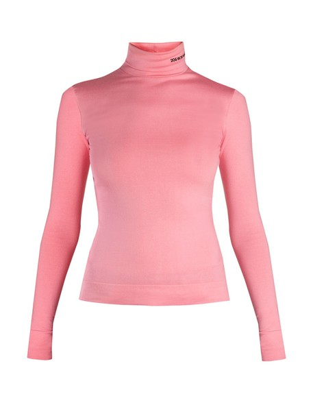 CALVIN KLEIN 205W39NYC top embroidered cotton pink