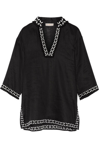 tunic embroidered embellished black top