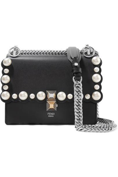 mini pearl embellished bag shoulder bag leather black