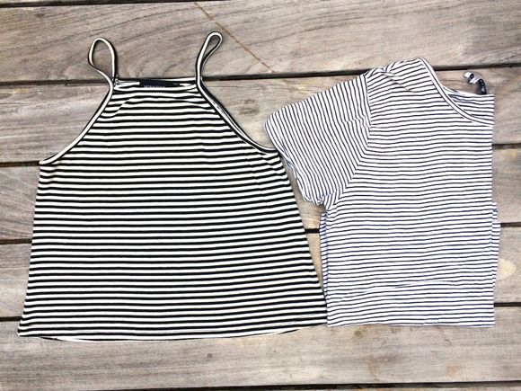 t-shirt top tank top halter stripes stripe black crop top halter top halter neck top halterneck striped shirt striped black and white