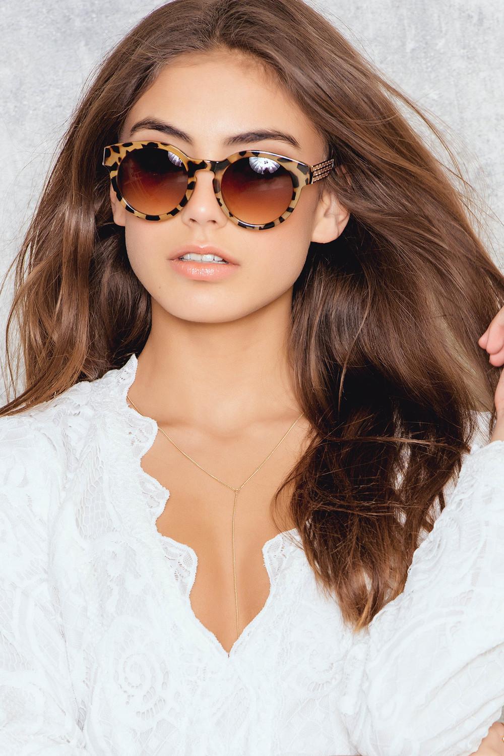 NA-KD Accessories Brown Leo Sunglasses