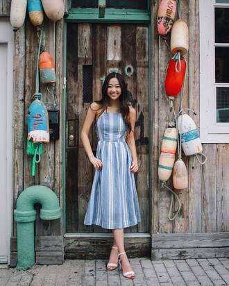 dress tumblr midi dress blue dress halter neck halter neck dress summer dress summer outfits sandals sandal heels shoes