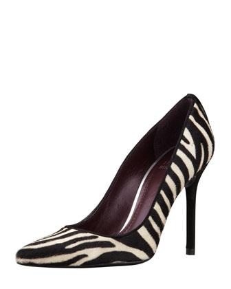 Stuart Weitzman Pipenouveau Calf Hair Pump, Zebra Print - Neiman Marcus