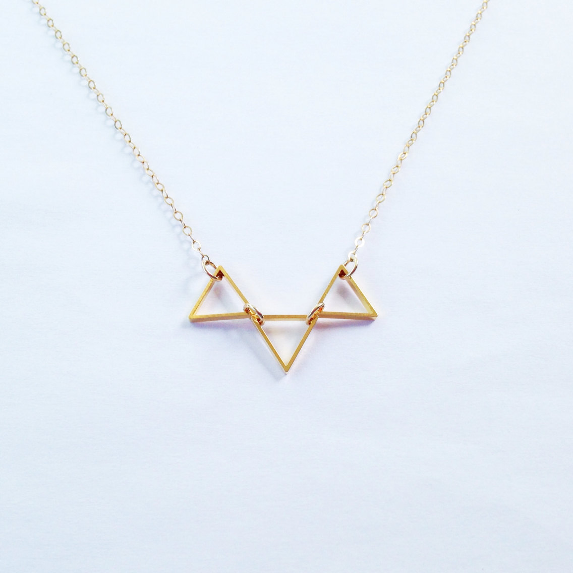Trinity - Minimalist Trio Necklace, Minimalist Necklace, Gold Triangle, Simple Necklace