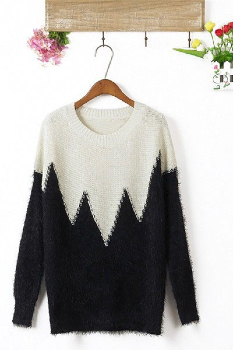 Autumn&Winter New Joint Constrast Color Pullover Sweater,Cheap in Wendybox.com