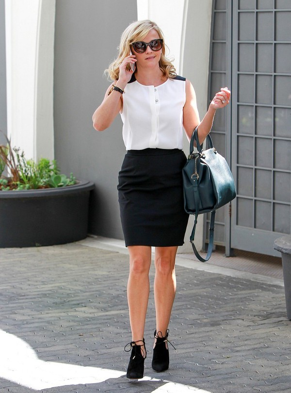 blouse top reese witherspoon skirt pencil skirt fall outfits shoes bag