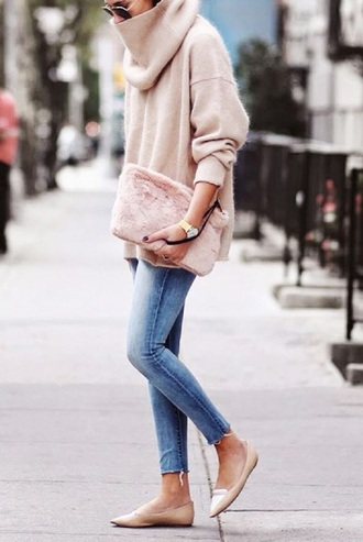 sweater pink sweater turtleneck jumper knitwear pink clutch fluffy light pink winter sweater winter outfits streetstyle streetsylemoi furry pouch