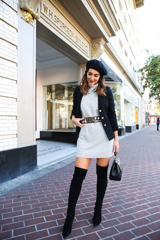 dress tumblr sweater sweater dress knit knitted dress mini dress grey dress blazer beret hat boots black boots over the knee boots over the knee bag jacket