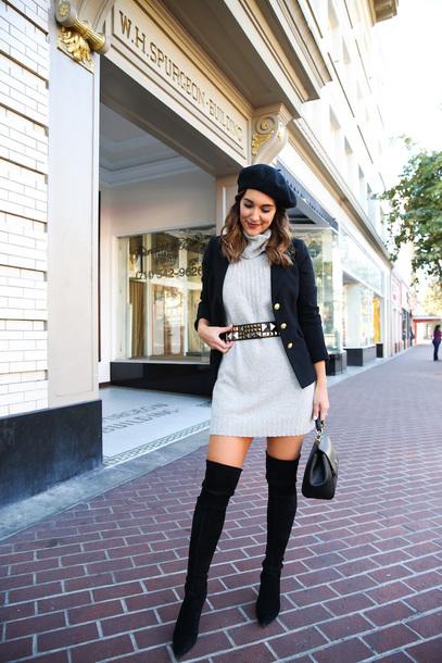 dress tumblr sweater sweater dress knit knitted dress mini dress grey dress blazer beret hat boots black boots over the knee boots over the knee bag jacket