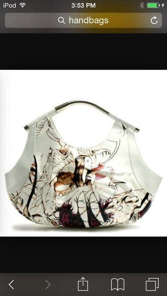 bag print white handbag
