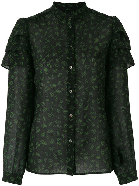 Vanessa Seward blouse embroidered women black wool top