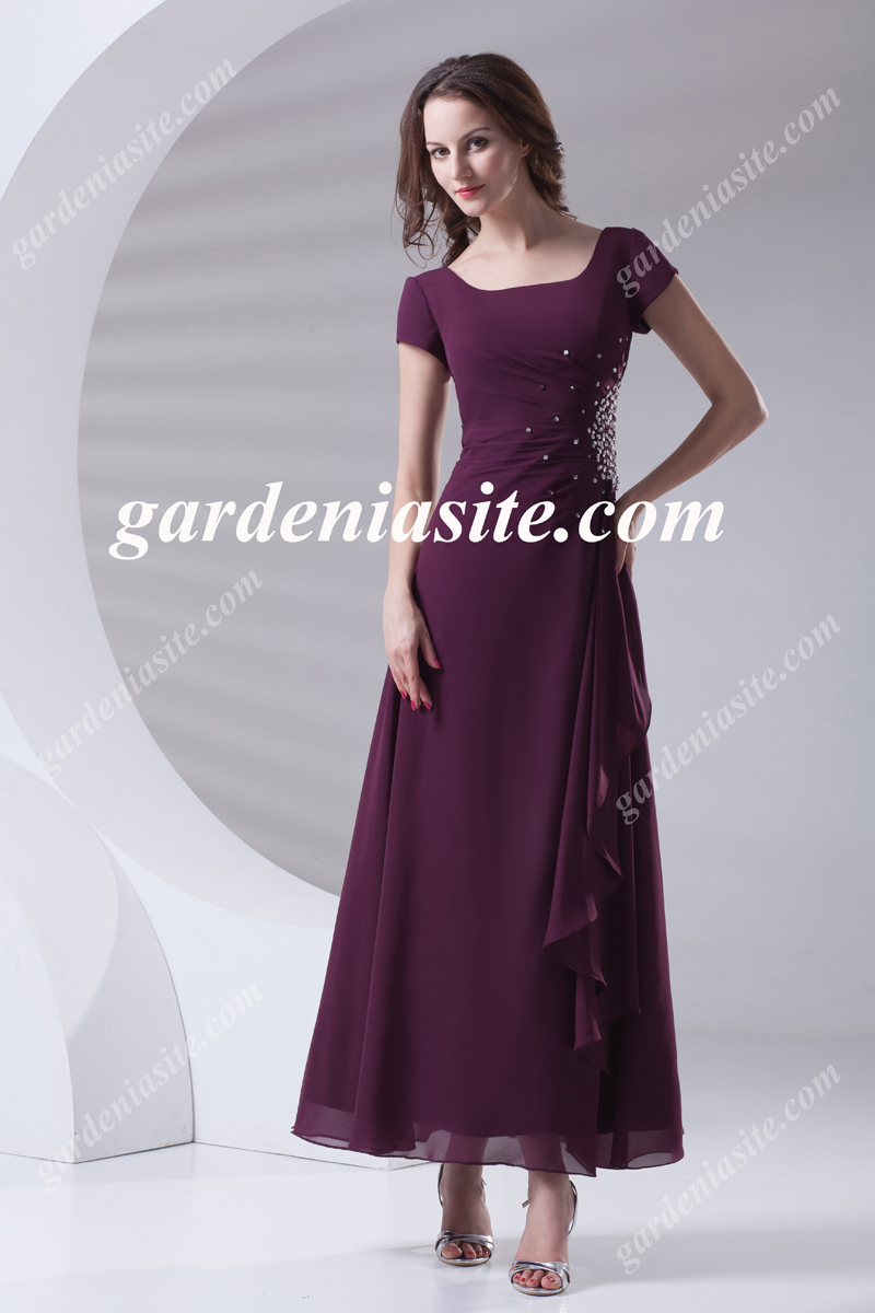 Sheath/Column Square Ankle-length Sequins Chiffon Evening Dress 2014 - Gardeniasite