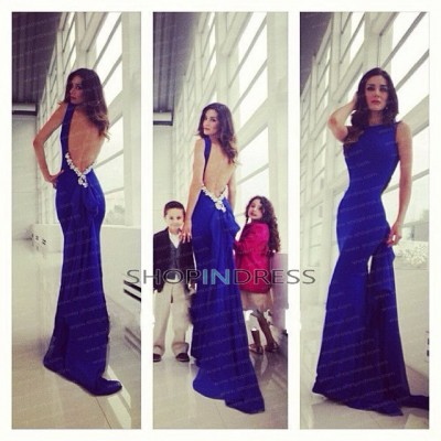 Mermaid/trumpet scoop floor length chiffon royal blue evening dress with beaded npd098002 sale at shopindress.com