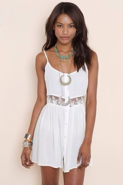 Dress: little white dress- summer- lace- button front- jewels ...