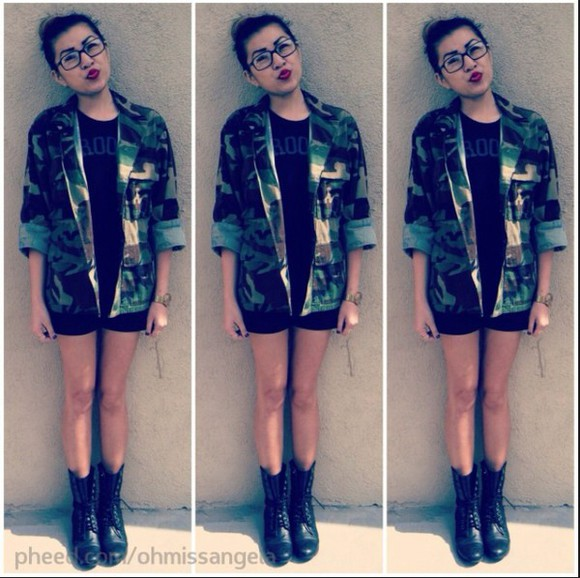 camouflage Red Lime Sunday jacket camo jacket black black boots boots military boots