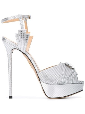 open women sandals platform sandals leather grey metallic shoes