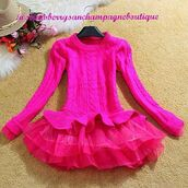 sweater,tutu,cute,frilly,jumper,warm,hot pink,pink,winter outfits,fall outfits