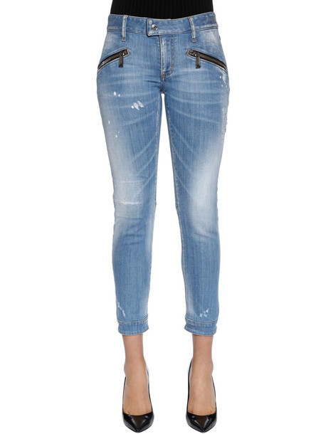 DSQUARED2 Washed Cotton Denim Biker Jeans in blue