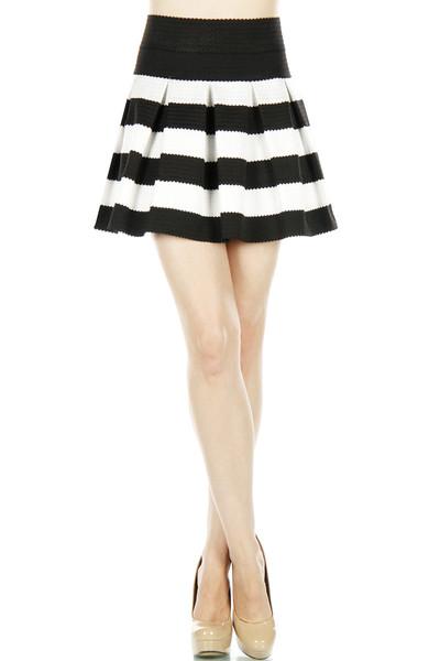 Black & White Stripe Skater Skirt