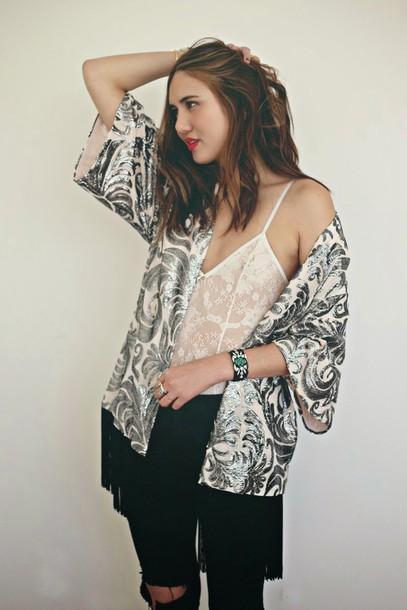 color me nana blogger silver jacquard bodysuit jeans jewels
