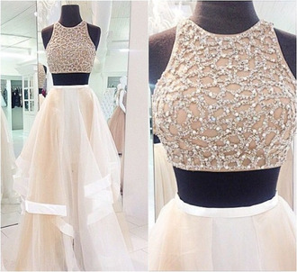 dress prom dress gown ivory dress evening dress prom prom gown white tan crop flowy sleeveless top sparkle crop tops two piece dress set long prom dress 2 piece prom dress white dress high neck lace beaded beaded white prom dress wedding dress