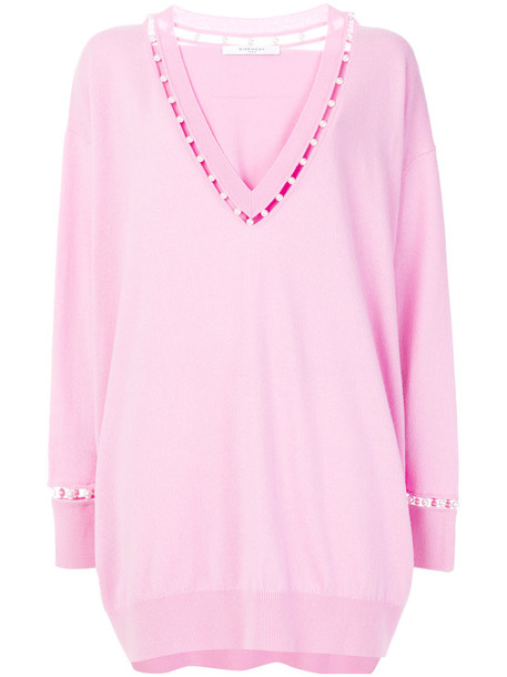 Givenchy sweater oversized women pearl embellished cotton silk wool purple pink