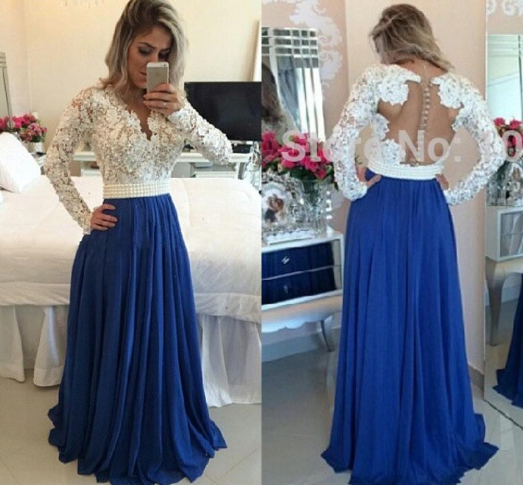 Turkish Evening Dresses Light Blue Formal Dress White Lace Pearls ...